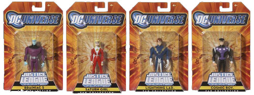 Legion of Super Heroes Exclusive Saturn Girl, Cosmic Boy, Lightning Lad and Braniac 5 Figures